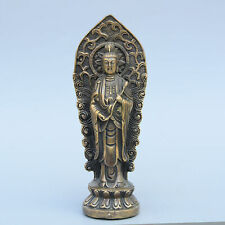 Collect China Old Bronze Hand-Carve Buddhism Kwan-Yin Auspicious Exorcism Statue