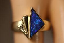14K SOLID YELLOW GOLD AUSTRALIAN BLACK OPAL FIRE OPAL DIAMOND RING 14KT 5.75 JH
