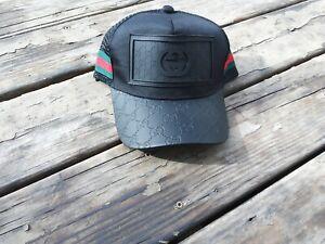 CASUAL Gucci  SUNSHADE GG LOGO RARE MEN'S BLACK BASEBALL CAP SIZE LARGE