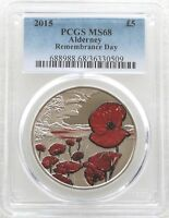 2015 Royal Mint Remembrance Day Poppy BU £5 Five Pound Coin PCGS MS68