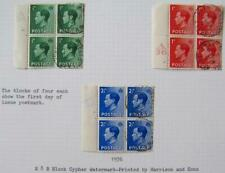 EdViii ½d, 1d & 2½d cont. blks, fine used first day. Sg.457/8/60. 000022B3