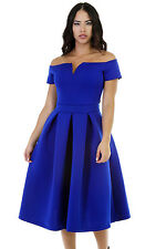 Royal Blue Thick Flare Midi Vintage Dress size UK 8-10