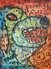 Modernist ABSTRACT Modern Painting GRAFFITI Expressionist ART DEMON DOG FOLTZ