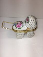 Baby Buggy Porcelain Trinket Box Miniature Floral Painted 4 Inches Excellent