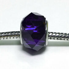 3 Beads - Royal Blue Purple Crystal Resin Silver European Bead Charm E0364
