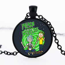 Peace among worlds Rick And Morty Photo Glass Dome black Chain Pendant Necklace
