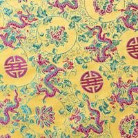 Embroidered Brocade Fabric Oriental Dragon Jacquard Silky Satin Cloth Sew Trims