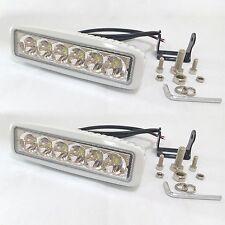 2 x White Marine LED Work Light Bar 18W LED Boat Lights Spot Beam 30 Degree