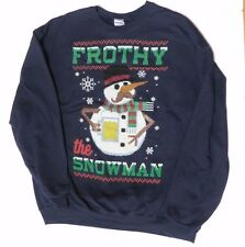 Beer Christmas snowman sweatshirt mens medium frothy ugly sweater new frosty A13