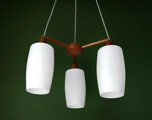 1960s Vintage Teak & Opal 3 Glass Chandelier Pendant Lamp - Danish Modern