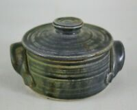 Vintage Studio Pottery Small Green Lidded Handled Individual Casserole - 4""