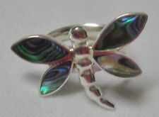 925-Sterling-Silver-Abalone-Shell-Dragonfly Ring Stunning design 7.5 or 55