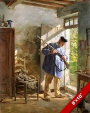 MAN PREPARING FOR THE HUNT HUNTING OIL PAINTING ART GICLEE PRINT ON REAL CANVAS