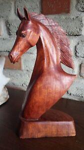 Pferde Kopf geschnitzt Deko Skulptur Reiten Stute Araber Hengst Kunst Fohlen