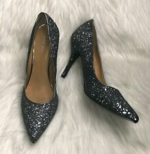 Nine West Flax Pointed Toe Gun Metal Pumps Heels Silver Glitter US Size 8