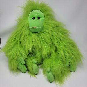 "Orangutan Stuffed Plush Animal 16"" Sitting Neon Green Hairy Six Flags"