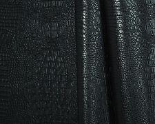 "BLACK VINYL CROCODILE Alligator Leatherette Pleather Faux Leather BY YARD 54""W"