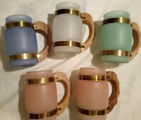 Vintage Frosted Glass Set of 5 Mugs Copper Bands 15 oz Pastel Colors Textured
