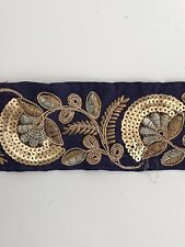 ATTRACTIVE INDIAN ANTIQUE GOLD AND THREAD SEQUIN FLORAL NAVY FABRIC LACE-1 MTR