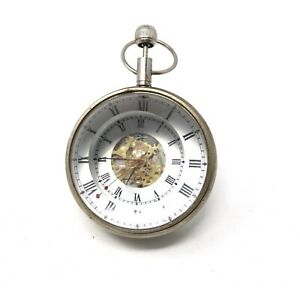Interesting Vintage Top Wind Mechanical Crystal Ball Desk Ship Pocket Watch32835