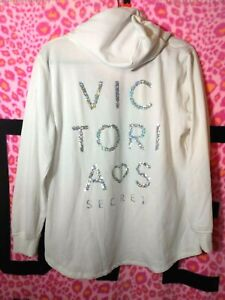 Victoria's Secret Silver Sequin Bling Tunic Pullover Sweatshirt LARGE Off-White