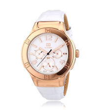 Relojes de pulsera de acero inoxidable de día y fecha de mujer