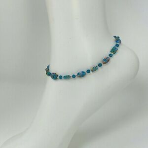 Handmade Anklet Turquoise Millefiori Glass Oval & Rectangular Beads Silver Tone