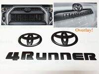 3PCS Set Overlay Matte Black Out 4Runner Emblem Badge Fit For 2014-2021 Toyota