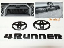 3PCS Set Overlay Matte Black Out 4Runner Emblem Badge Fit For 2014-2020 Toyota