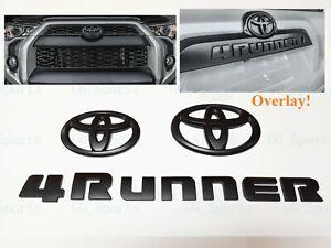3PCS Set Overlay Matte Black Out 4Runner Emblem Badge Fit For 2014-2021 Toyota