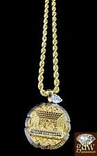Real 10k Yellow Gold Last Supper Charm/Pendant with 26 Inch Rope Chain,Jesus,Men