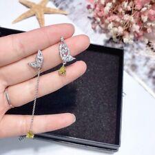 NEWSilver Crystal Lab yellow Diamond Stud lady's Earrings Gift