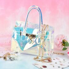 women's handbag clear tote messengers cross body shoulders jelly bag laser bags