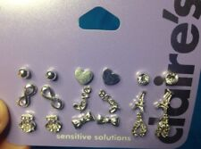 Nine Pairs Of Claire's Silver Ball Heart Stud Love Bow Rhinestone Earrings New
