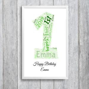 Personalised 1st Birthday Girl Boy, Word Art Framed Present Gift First Birthday