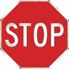 STOP SIGN VINTAGE LOOK OCTAGON SHAPED METAL EMBOSSED SIGN GARAGE MAN CAVE STREET