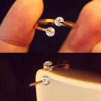 Elegant Womens Crystal Bridal Engagement Ring Open Adjustable Gold Size 7