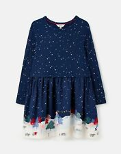 Joules Girls Merrie Mock Layer Print Dress - Starry Woodland Sky