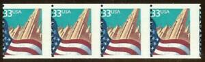 "3280 - 33c Misperf Error / EFO Strip of 4 ""Flag And City"" Mint NH"