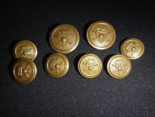 Lot Of 8 Military Gold Tone Metal Buttons *Removed From Shirt*