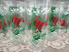 vintage Christmas drinking glasses holiday tumblers holly berries bells set of 5