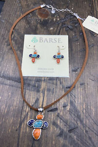 Barse Rustic Necklace & Earrings Set- Mixed Stones- Sterling Silver- NWT