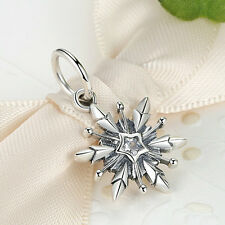 New Authentic 925 Sterling Silver Clear CZ snowflake Charm Pendant fit Bracelet