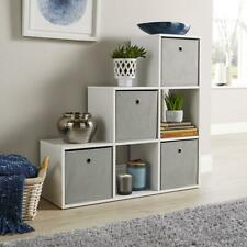 Step Style Storage Cube 6 Shelf Bookcase Wooden Display Staircase Unit White