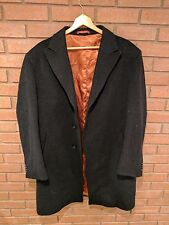 Mario Valente BLACK Italy Wool Cashmere Long Coat 44R Button Solid