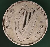 1941 Ireland Eire Irish shilling coin 75% silver coin *[17678]