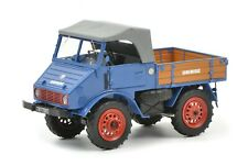 Schuco 1/32 Mercedes-Benz Unimog U401 with wooden bed blue 450900300