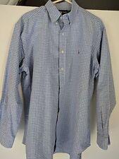 Ralph Lauren Yarmouth 100% Cotton Oxford Men's Shirt Sz 16 Blue White Check