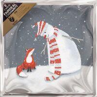 Pack of 8 Snowman & Fox The Donkey Sanctuary Fairdeal Charity Christmas Cards