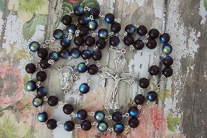 Catholic Rosary Large 8mm GARNET deep Red AB Glass Beads Nice Crucifix medal NOS